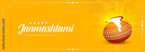 Obraz happy krishna janmashtami festival yellow banner design - fototapety do salonu