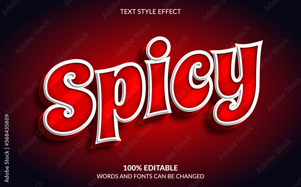 Fototapeta Editable Text Effect, Red Spicy Text Style