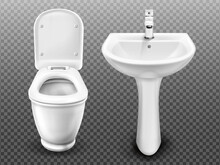 White Toilet Bowl And Sink For...