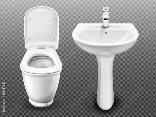 Photo White toilet bowl and sink for bathroom, modern WC or restroom