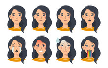 Cartoon Flat Set Of Asian Woman Emoji Emotions. Isolated Female Oriental Avatars With Different Facial Expressions On A White Background. Vector Illustration For Stickers Or Social Networks.