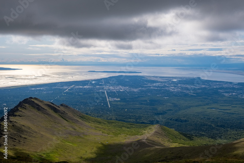 Photo Fire Island and Anchorage proper as seen from Wolverine Peak