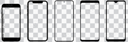 Fototapeta Set of Smartphone With Transparent Screens. Smartphone Mockup Collection. Device Front View. HD Mobile Phone on Transparent Background. Stock Vector obraz
