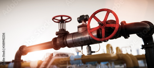 Fototapeta Gas tap with pipeline system at natural gas station. obraz