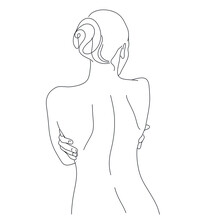 Continuous Line Drawing. Woman Body. Vector Illustration For Spa, Tshirt, Nails, Poster. Vector Image Of A Woman. One Line Sketch