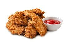 Delicious Crispy Fried Chicken Breast Strips With Tomato Sauce Isolated