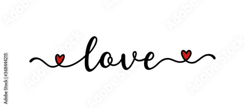 Fototapeta Hand sketched Love word as banner or logo