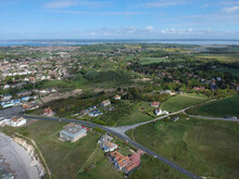 Aerial View Of Freshwater And Totland On The Isle Of Wight, England