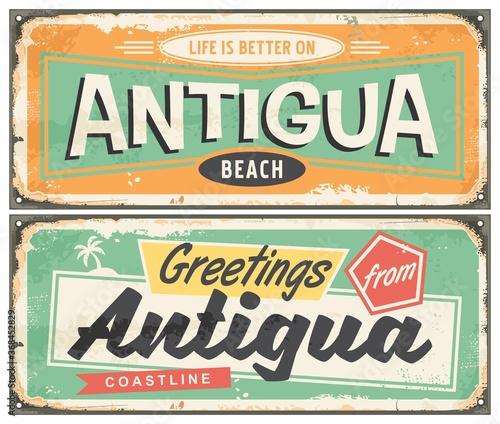 Fototapeta Antigua beach souvenir poster design in retro style. Caribbean island travel vacation greeting card template. Tropical destination  vector vintage illustration.  obraz