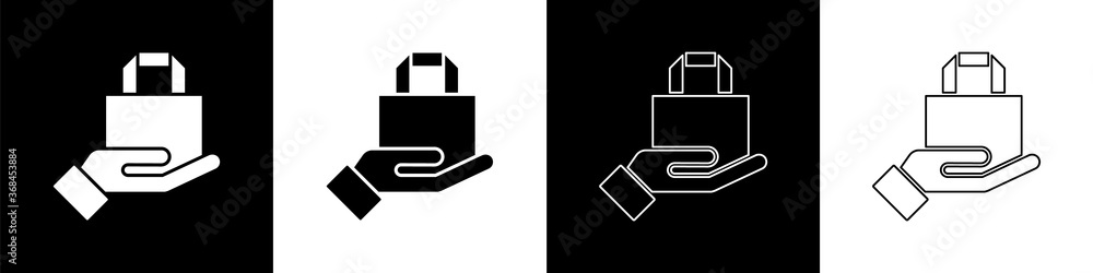 Fototapeta Set Online ordering and fast food delivery icon isolated on black and white background. Vector Illustration.