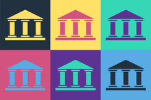 Pop Art Museum Building Icon Isolated On Color Background. Vector Illustration.