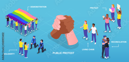 Public Solidarity Protest Composition Canvas Print