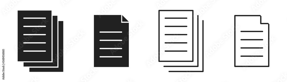 Fototapeta Document icon collection. Vector isolated illustartion. File page symbol set.