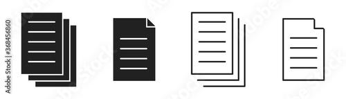 Fototapeta Document icon collection. Vector isolated illustartion. File page symbol set. obraz