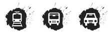 Schwarze Kleckse Mit Verkehrsmittel Icons: Bahn, Bus Und Auto