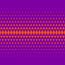 Geometric Texture, Seamless Frieze. Orange Triangles And Rhombuses On Violet Background. Pattern For Wrapping Paper. Fabric Or Textile Pattern.
