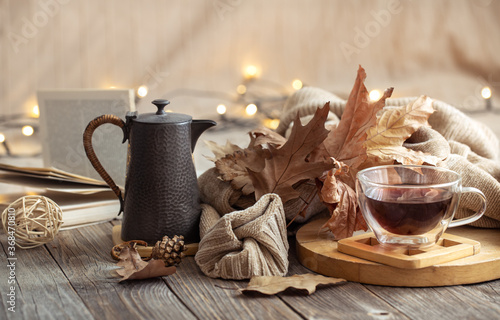 Fototapeta Cozy autumn still life in a homely atmosphere. obraz