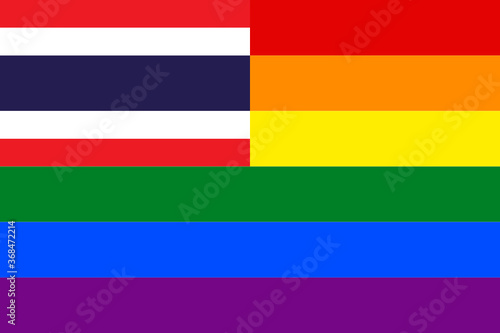 flag of thailand with rainbow flag. proportion 2:3 Fotobehang