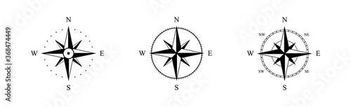 Nautical wind rose, compasses for travel map, vintage marine navigation arrow symbols, retro outline vector set Fototapeta