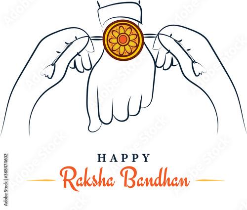 Obraz Happy Raksha Bandhan, sister tying rakhi to brother sketchy greeting poster, card, vector illustration - fototapety do salonu