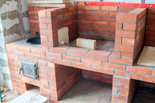 Stage Of Construction Of Barbecue Area In Gazebo Under Roof Of Main Country House