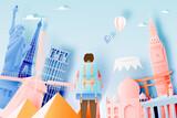Fototapeta Fototapeta Londyn - Backpacker with various travel attractions
