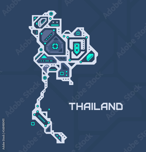 Photo Abstract futuristic map of Thailand
