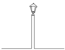 City Street Lantern. Streetlight Vintage Lamp Icons Isolated On White Background. Flat Thin Line Design. Vector Illustration Of Traditional Street Lamps. One Line Drawing Of City Lantern
