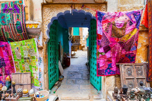Obraz Colors of traditional India. Shop streets in old town Jaisalmer. Rajasthan. Feb 2013 - fototapety do salonu
