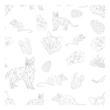 Simple Line Vector Polygone Art Of Pattern With Cat Mouse Cheese Cone And Rowan Berries