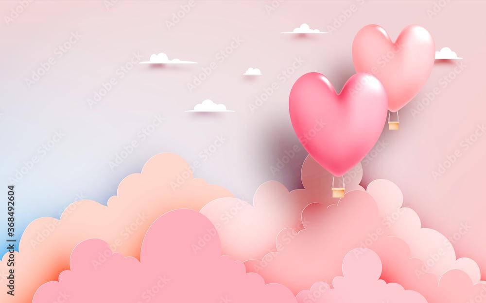 Fototapeta Hot air balloon paper art style with pastel sky backgroun