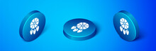 Isometric Dream Catcher With Feathers Icon Isolated On Blue Background. Blue Circle Button. Vector Illustration.
