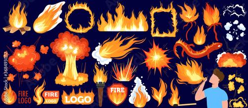 Bonfire, hot flame of fire vector illustration set Poster Mural XXL