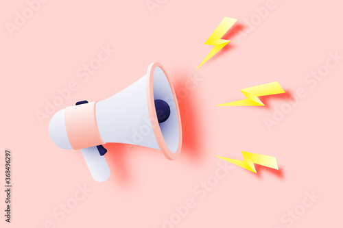 Photo Megaphone announcement with paper art style