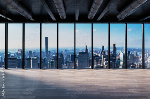 Photo Front view modern empty office with panoramic skyline view bright daylight - 3D