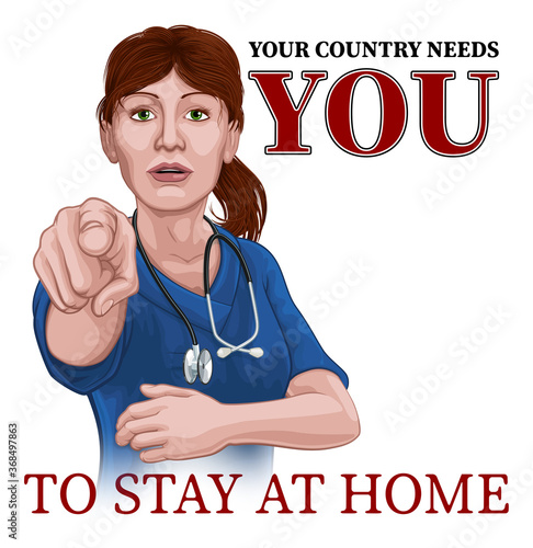 Photo A woman nurse or doctor in surgical or hospital scrubs pointing in a your country needs or wants you gesture