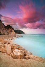 Sunset At Numana Alta Beach, Riviera Conero, Ancona, Adriatic. Marche.