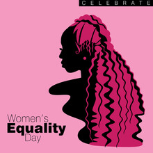 An Abstract Vector Illustration Of A Single African American Woman With Curly Long Hairstyle In Three Quarter Profile View On A Pink Isolated Background For Women's Equality Day
