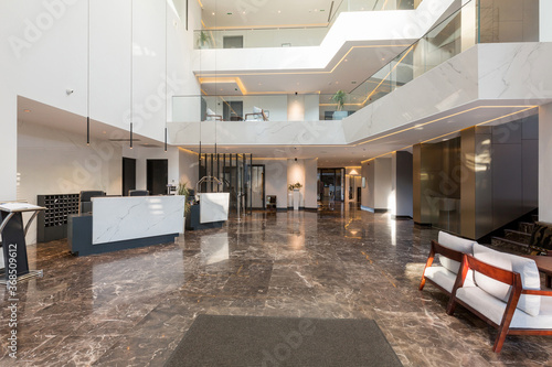 Interior of a luxury hotel lobby with marble floor,reception counter Canvas