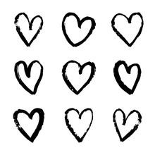 Hearts Brush Strokes. Vector P...