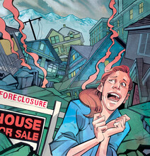 Illustration Of Woman Crying Due To Real Estate Inflation