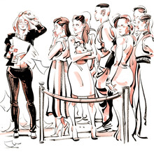 Illustration Of Woman Checking Guest List By Guest Standing In Queue At Event