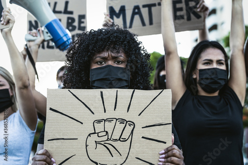 Black lives matter activist movement protesting against racism and fighting for Fototapeta