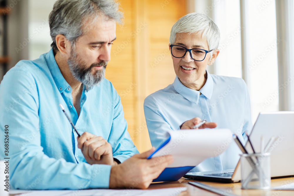 Fototapeta business office discussion teamwork senior meeting businessman businesswoman colleague man woman