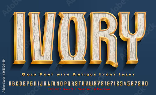Платно An Elegant Alphabet Constructed of Gold and Inlaid with Antique Ivory; Luxury Elegant Old World Font