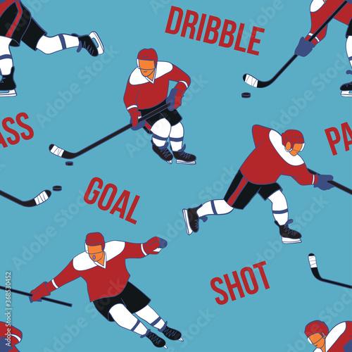 Tapety do pokoju młodzieżowego  ice-hockey-player-in-action-skating-and-kicking-a-puck-with-a-stick
