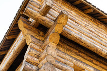 Part Of The Wooden Fort Outer Wall Is Made Of Old Pine Logs Weathered Tall Pattern