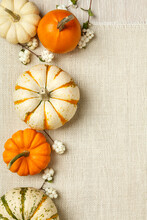 Miniature Pumpkins On Rustic Wood And Burlap Cloth Background. Simple, Natural, Organic, Country Style Fall Autumn Thanksgiving Home Decorations.
