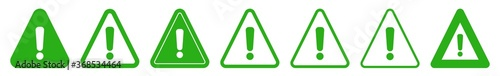 Fotografie, Tablou Exclamation Mark Triangle Icon Green | Caution Sign | Warning Illustration | Dan