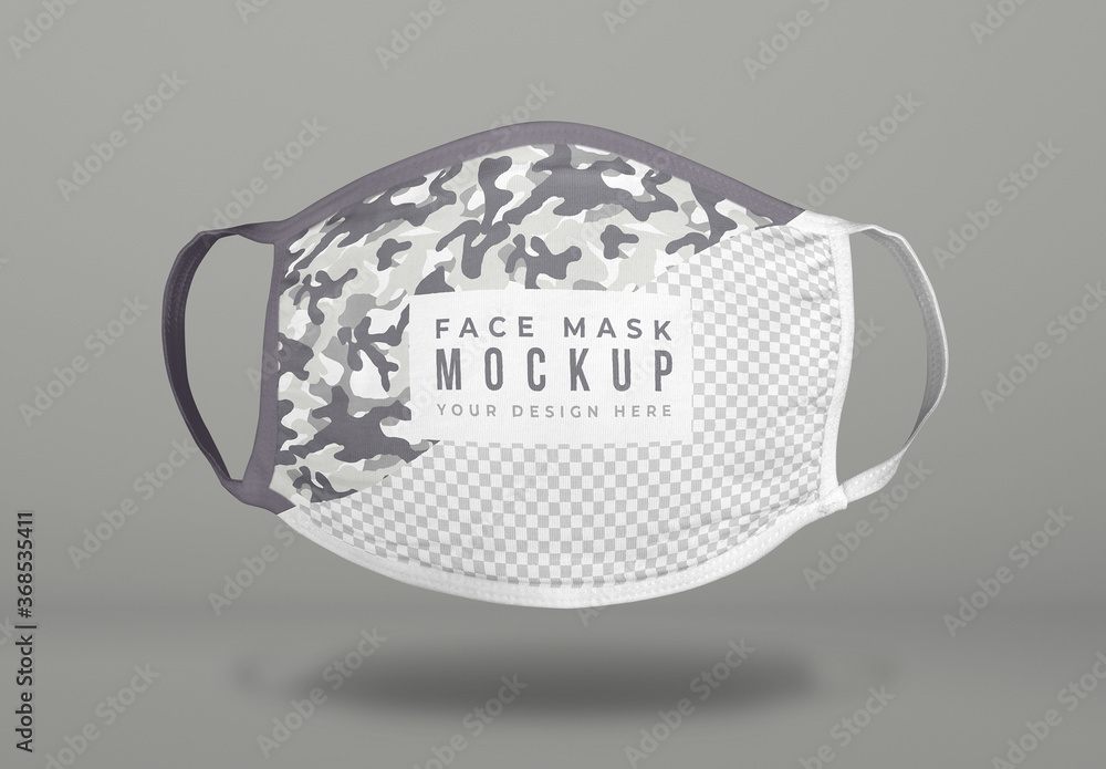Fototapeta Floating Covid Face Mask Mockup